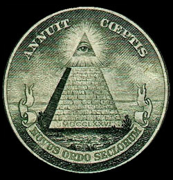 The eye of the pyramid, seen here on the dollar bill, is often interpreted as a symbol of the Illuminati.