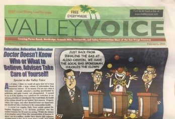 A local newspaper pokes fun at those 'inhaling the gas' and listening to public relations 'clowns' regarding the leak.
