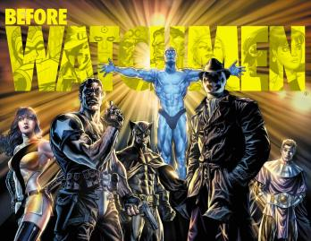 A film poster depicts has-been superheroes featured in The Watchmen.