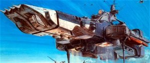 The Super Dimension Fortress One (SDF-1), envisioned in Robotech, flying in cruiser mode.