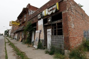 An abandoned street in the Rust Belt has not seen the better days Trump promised residents in 2016.