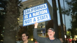 A protestor marches in favor of California seceding from the Union.